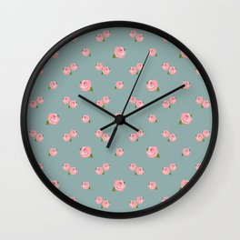 Pink Roses Repeat Pattern on Teal Wall Clock
