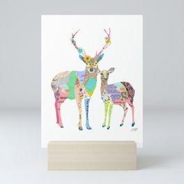 Pastel Deer Collage Mini Art Print
