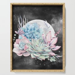 Beautiful Succulents Full Moon Night Sky by Nature Magick Serving Tray