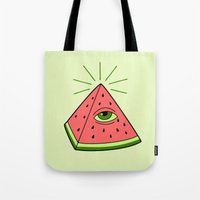 watermelon Tote Bags featuring watermelon by gotoup