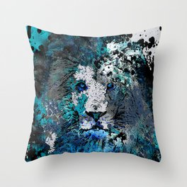 LION PRIDE ABSTRACT INK SPLASH PORTRAIT Throw Pillow
