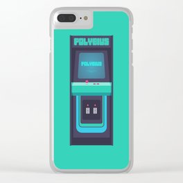 Polybius Arcade Game Machine Cabinet - Front Green Clear iPhone Case