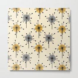 Midcentury Sputnik Starburst Flowers Yellow Gray Metal Print