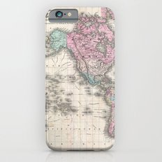 Vintage World Map from 1855 (Geographic Atlas of the World, America, Europe, Australia Map) iPhone 6 Slim Case