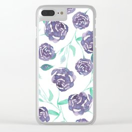 Purple Rose Bush Clear iPhone Case