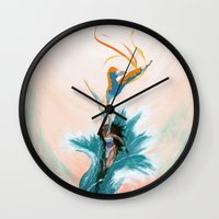 aang Wall Clocks featuring Katara and Aang by Imogen Scoppie