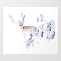 reindeer Art Prints featuring Reindeer by Lisbel