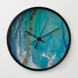 White Stag of the Winter Solstic Wall Clock