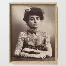 Vintage Photo of Tattooed Woman Maud Wagner, 1911 Serving Tray