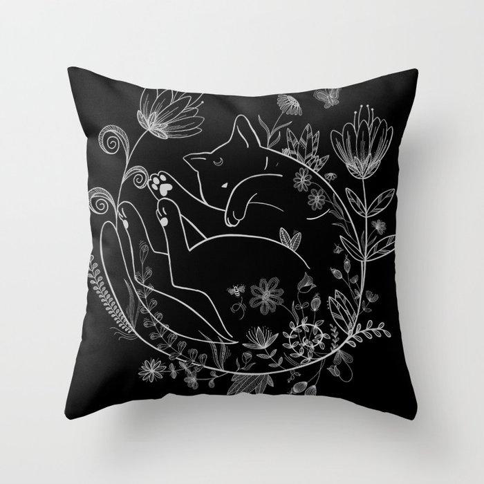 Sleeping Beauty magical black cat in flowers lineart Luna Throw Pillow