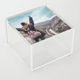 Tourist on the peak of high rocks. Big canyon on Balkan peninsula Acrylic Box