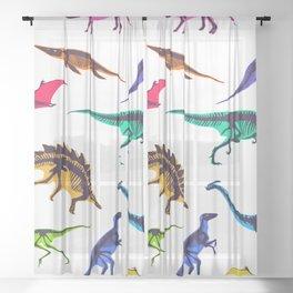 Multicolored dinosaur skeletons seamless pattern Sheer Curtain