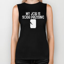 My Job is Soda Pressing Recycling Pun Ecofriendly Biker Tank