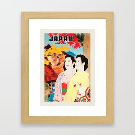 Japan retro travel poster - Autumn In Nikko with Country View River Hills Framed Art Print