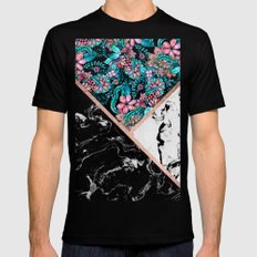 Black white marble rose gold watercolor floral color block pattern Black MEDIUM Mens Fitted Tee