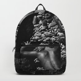 A Girl at the Beach with just her hat black and white photography Backpack