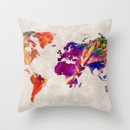 World Map 50 Throw Pillow