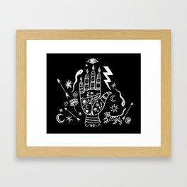 Spiritual Hand Black and White Framed Art Print