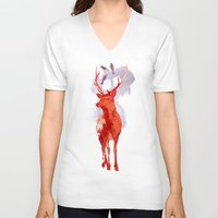 deer V-neck T-shirts featuring Useless Deer by Robert Farkas