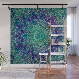 Aqua and Violet Mandala Lace Wall Mural