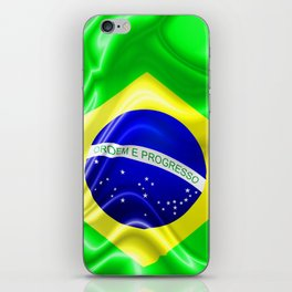 Brazil Flag Waving Silk Fabric iPhone Skin