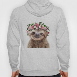 Baby Sloth With Flower Crown, Baby Animals Art Print By Synplus Hoody