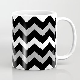 Black White & Grey Chevron Print Pattern Coffee Mug