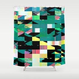 Pixel Dust Green  Shower Curtain