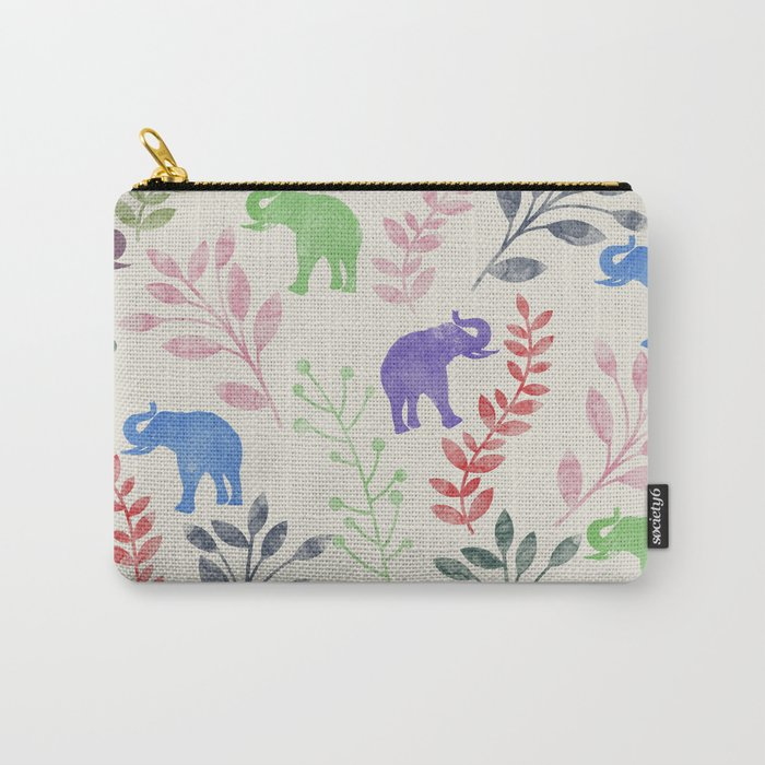 Watercolor Flowers & Elephants Carry-All Pouch