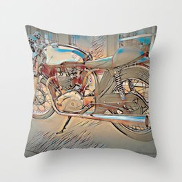 Vintage Triton Cafe Racer - Circa 1952 Throw Pillow