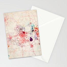 Lakeland map Florida painting Stationery Cards