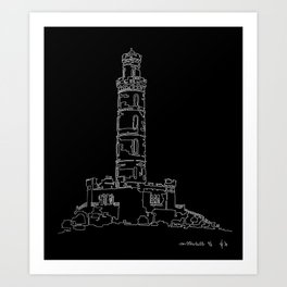 Carlton Hill, Edinburgh in one continuous line Art Print