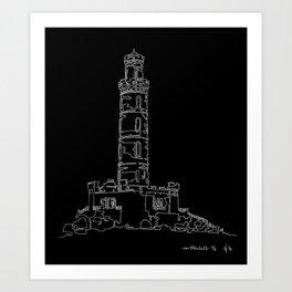 Carlton Hill, Edinburgh in one continuous line Art Print