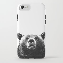 Black and white bear portrait iPhone Case