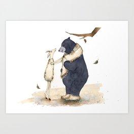 Winter gift for Bear Art Print