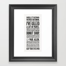 American Psycho - Patrick Bateman's Confession Framed Art Print