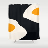 eggs Shower Curtains featuring fried eggs by Gréta Thórsdóttir