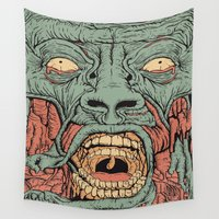 gore Wall Tapestries featuring face2 by Teenn