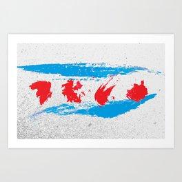 Chicago flag gritty brushstroke Art Print