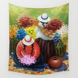 La Paz Altiplano Plateau Flower Sellers floral painting Wall Tapestry