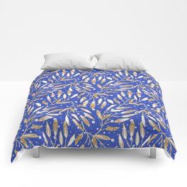 Christmas colorful pattern. Gold sprigs on a blue background. Comforters