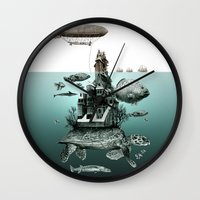 sea turtle Wall Clocks featuring turtle by Кaterina Кalinich