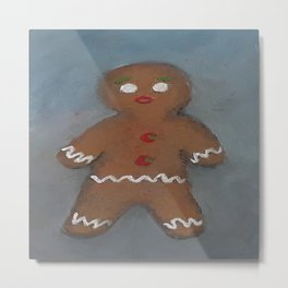 Gingerbread Man, oil painting by Luna Smith, LuArt Gallery, cookie Metal Print