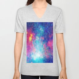 Colorful Abstract Pixels Unisex V-Neck