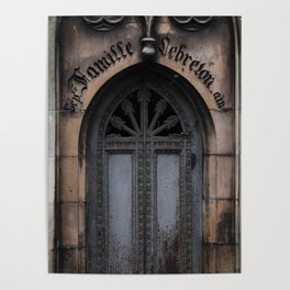 Gothic Door at Pere Lachaise Cemetery Paris Poster