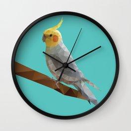 Yellow Cockatiel Bird Polygon Art Wall Clock
