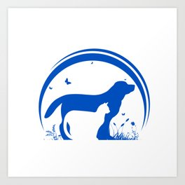 Dog and Cat and nature Silhouette Art Print