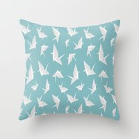 origami Throw Pillows featuring Origami by Albardado