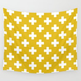 Mustard Yellow Plus Sign Pattern Wall Tapestry