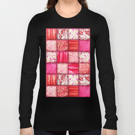 Faux Patchwork Quilting - Pink and Red Long Sleeve T-shirt